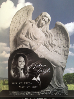 Heart-shaped headstone with angel